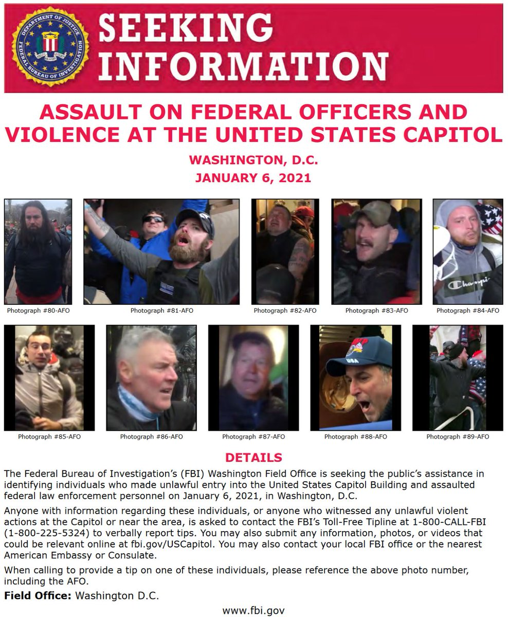 #FBIWFO is seeking publics assistance in identifying those who made unlawful entry into US Capitol & assaulted federal law enforcement on Jan 6. If you have info, report it to the #FBI at 1-800-CALL-FBI or submit photos/videos at fbi.gov/USCapitol. fbi.gov/wanted/seeking…
