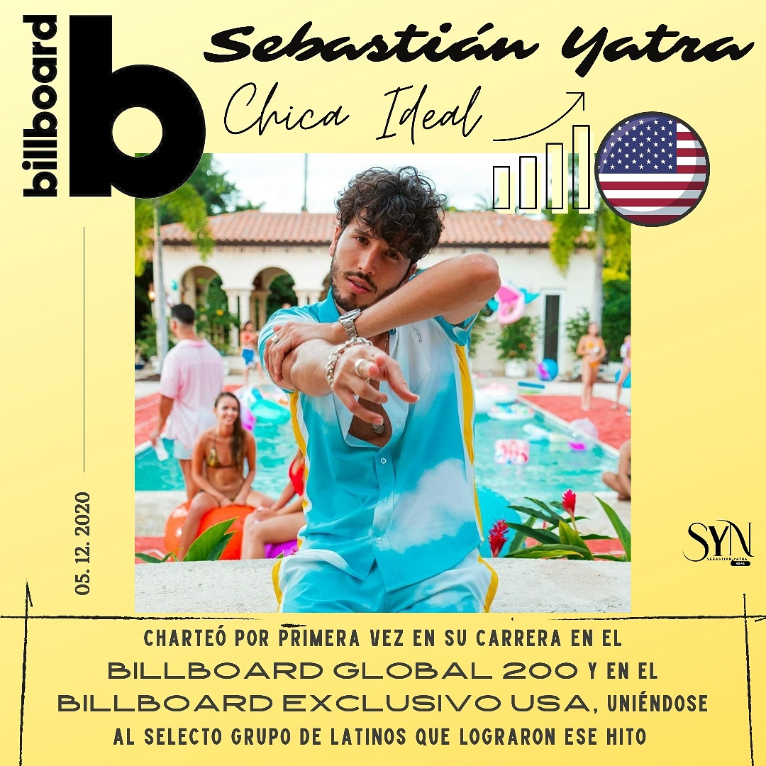 """El pasado 5 de diciembre Sebastián Yatra logró posicionarse por PRIMERA VEZ en dos de los listados más importantes de @billboardcharts: el #billboardglobal200 y el #BillboardExclUSA.  """"Chica ideal"""" lo sigue posicionando como lo que es: uno de los exponentes de la música latina."""