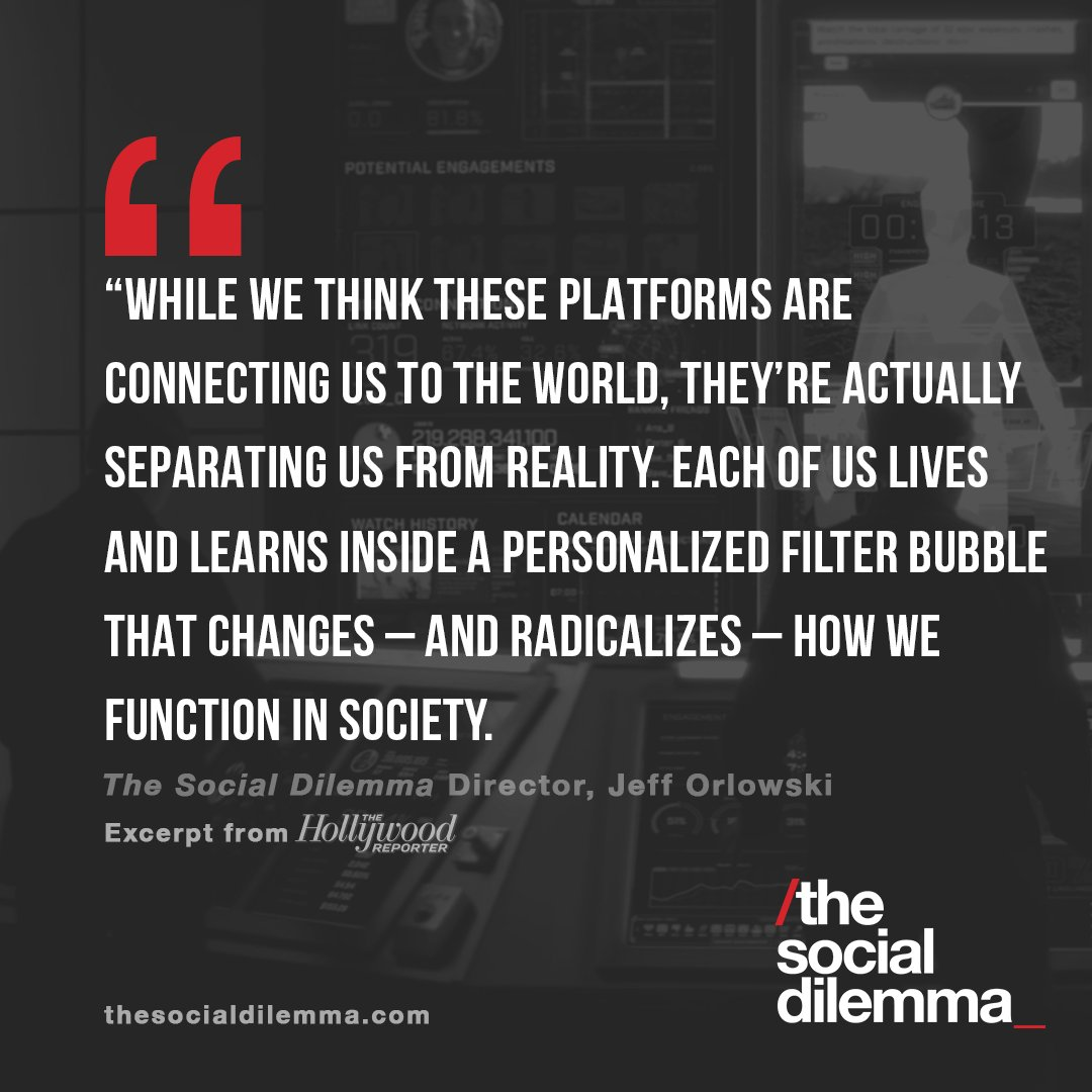 """""""We can no longer ignore the results of algorithm-induced extremism and polarization."""" Read more from @SocialDilemma_  Director Jeff Orlowski about the connection between social platforms and the U.S. Capitol attacks here: .  #TheSocialDilemma"""