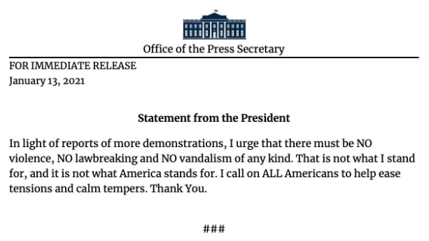 New statement just issued by President Trump https://t.co/QInClUnEfy