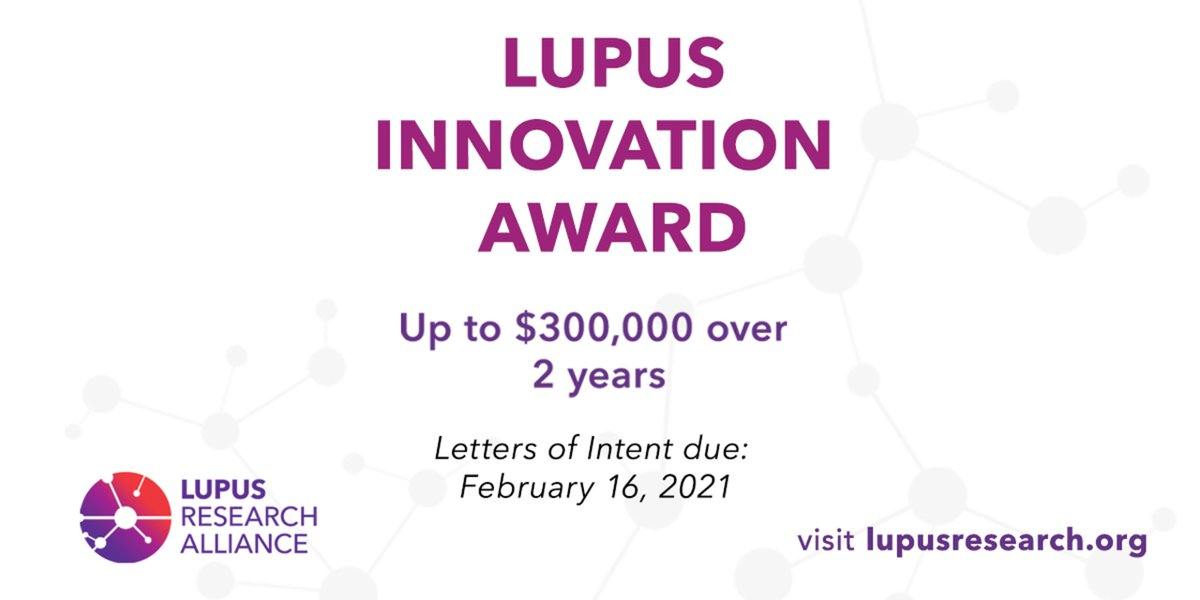 The LRA is soliciting proposals for the LIA. This award provides support for pioneering high-risk, high-reward approaches to major challenges in #lupusresearch. Investigators both new to lupus & established with highly innovative ideas encouraged to apply: