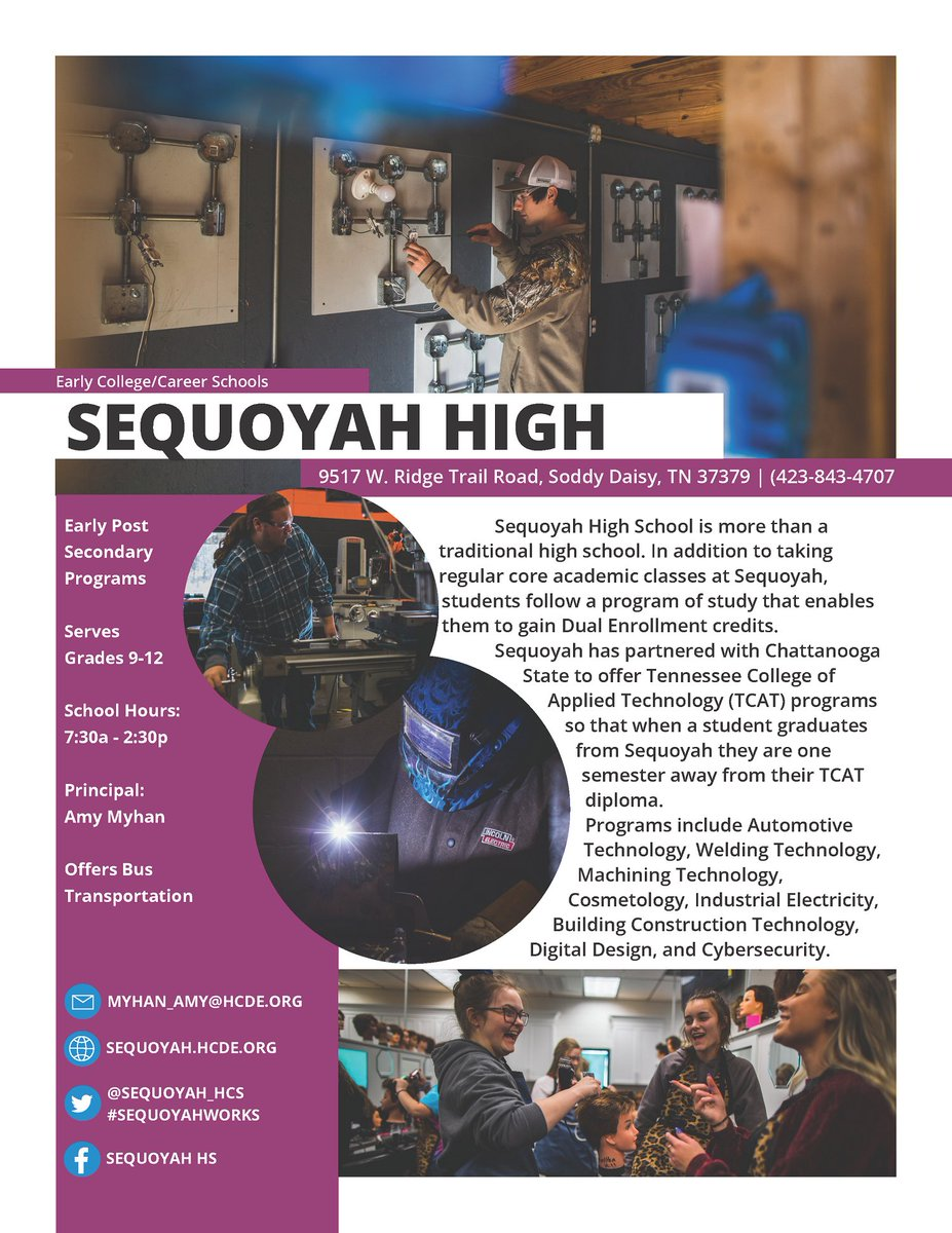 Today's #ChooseHamilton school spotlight is Sequoyah High School. In addition to taking regular core academic classes at Sequoyah, students follow a program of study that enables them to gain Dual Enrollment credits.  Learn more and apply: .