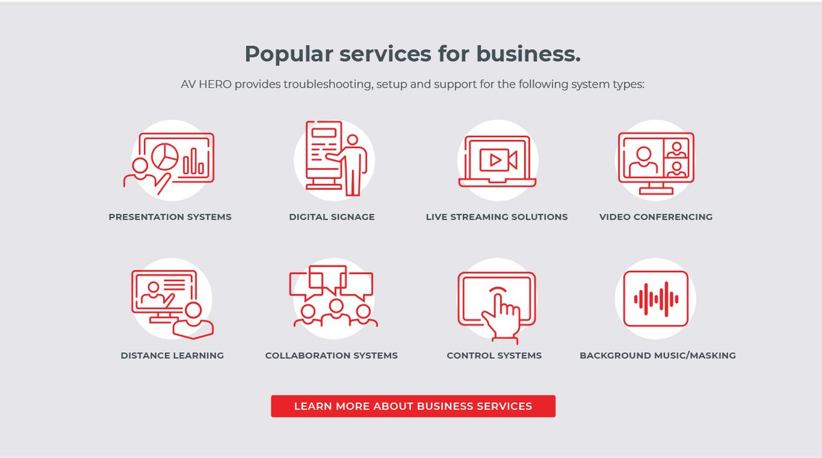 Popular services for business. AV HERO provides troubleshooting, setup and support for the following system types - contact us for more info at  🤘🤘  #sAVetheday #avservices #avsupport