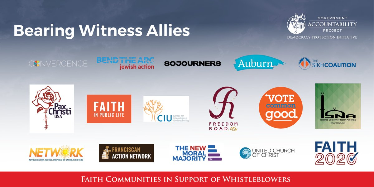 Our newly launched #BearingWitness program, which provides #whistleblower resources to faith leaders and communities, is joined by a group of influential multifaith partners.