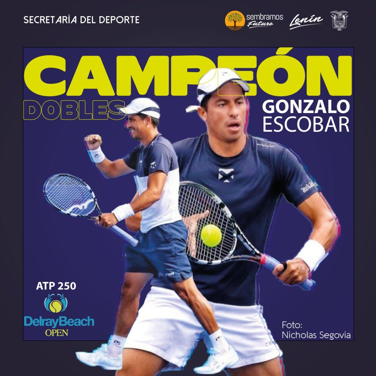 Felicitamos al tenista @goescobar89, quien se coronó campeón, en la modalidad dobles junto al uruguayo Ariel Behar, durante su participación en el #ATP250 Delray Beach. 🇪🇨🎾  #ElDeporteNosUne https://t.co/ax9kneoseC