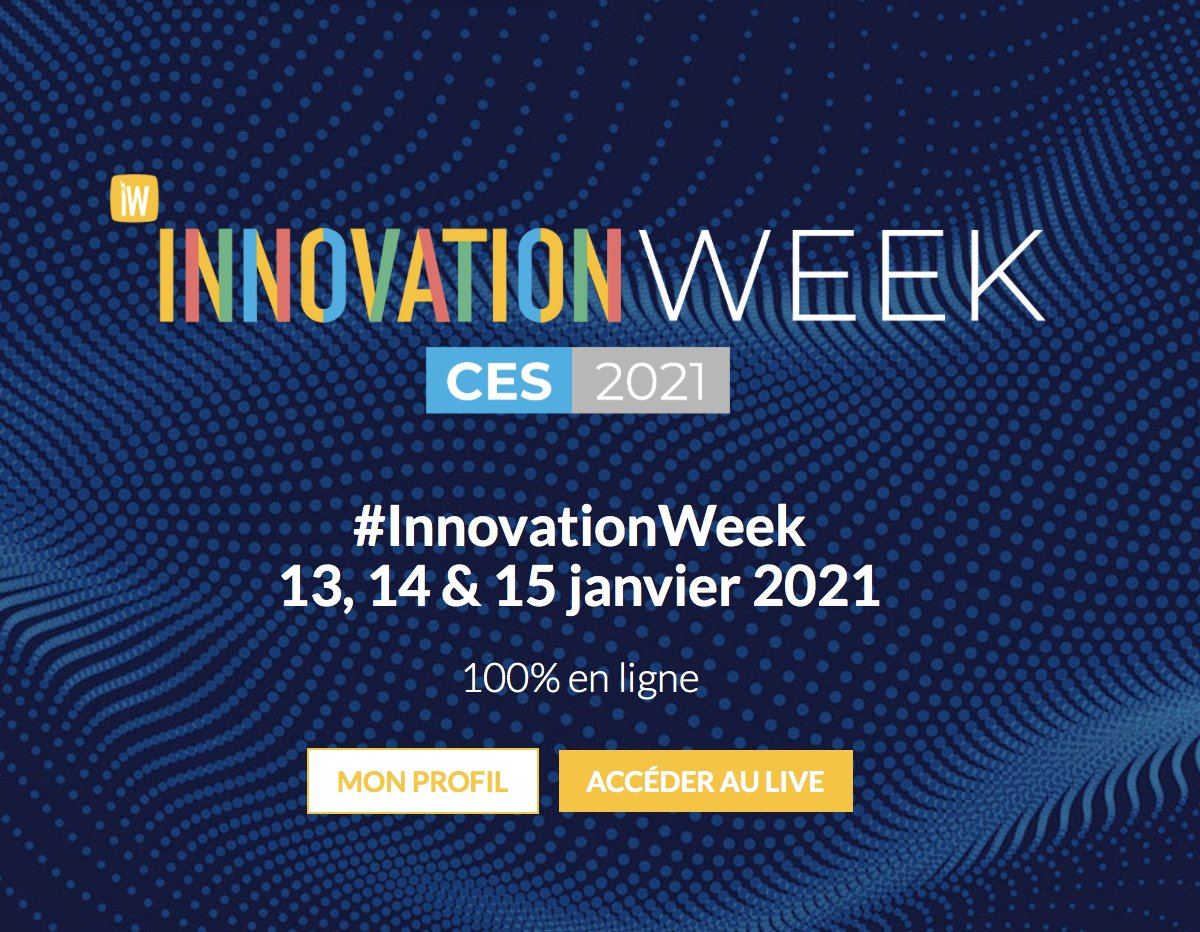 DON'T MISS OUT THE INNOVATION WEEK @InnoWeek by @hubinstitute from January 13th to 15th Register at 👉https://t.co/IS3b99LnkE to discover the innovations and trends of @CES 2021 #CES2021 #InnovationWeek #startups #digital #europe #techevents #technology #entrepreneur https://t.co/wMsiA2c832