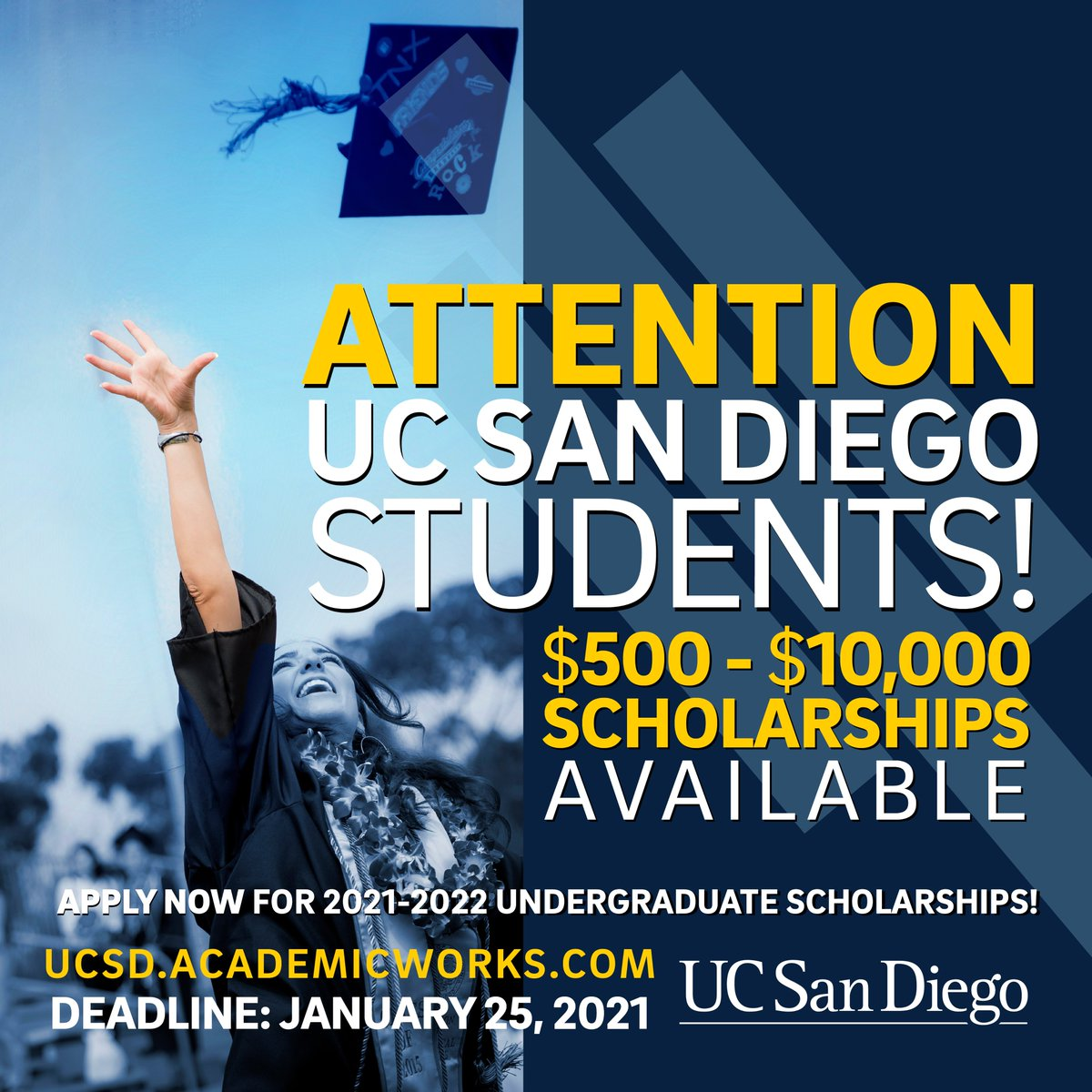 Current @ucsandiego students, you still have time to apply for 2021-2022 undergraduate scholarships.   January 25, 2021 is the deadline to apply. Don't wait until the last minute to submit!  Get started with your applications here: https://t.co/7pzLdxqbU5 https://t.co/4022pBSlQX