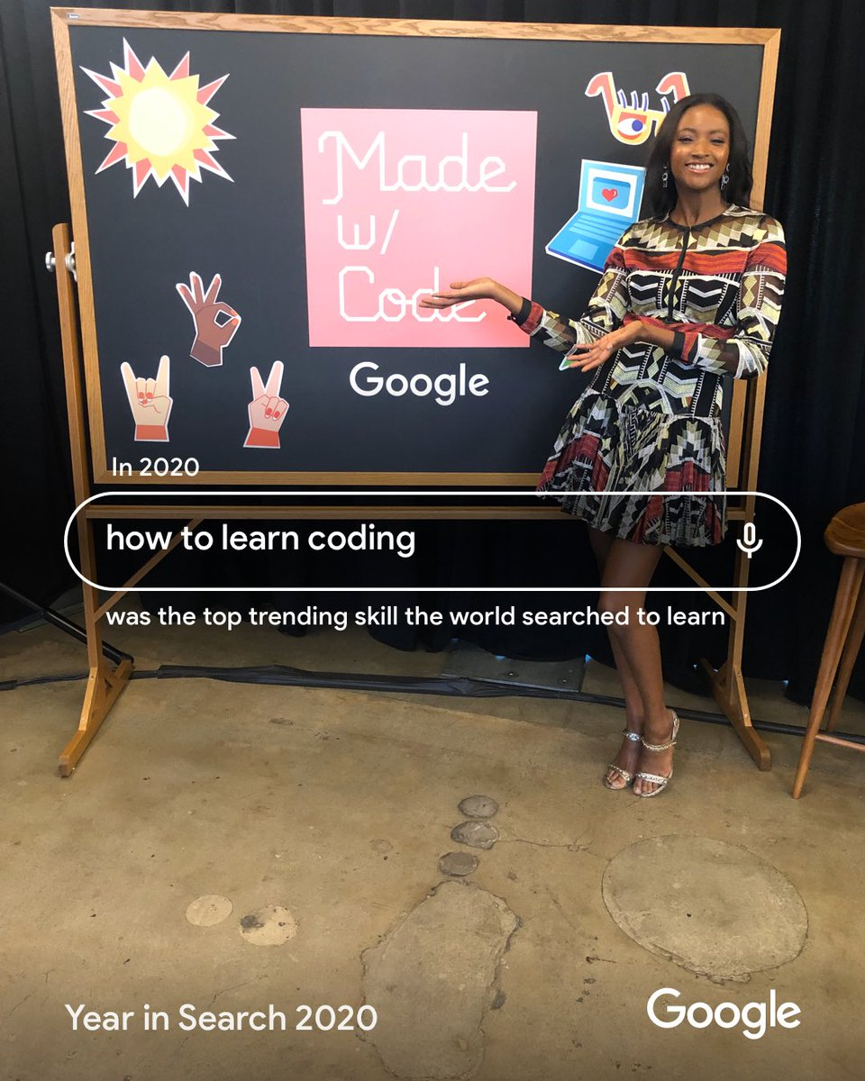 "I've been especially thankful for technology this year and its ability to keep us safe & connected! According to @google, ""How to learn coding"" was the top trending skill the world searched to learn in 2020.  #YearInSearch #ad"