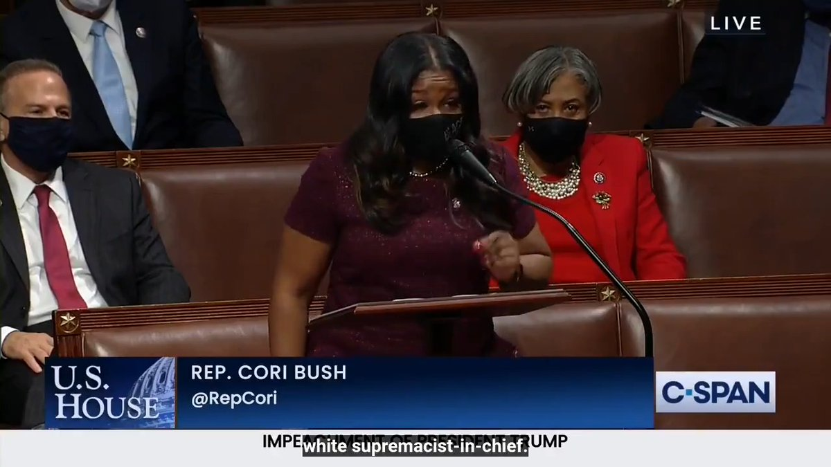 St. Louis and I rise to say that the 117th Congress has a mandate to legislate in defense of Black lives.  The first step in that process is rooting out white supremacy, starting with impeaching the white supremacist-in-chief.