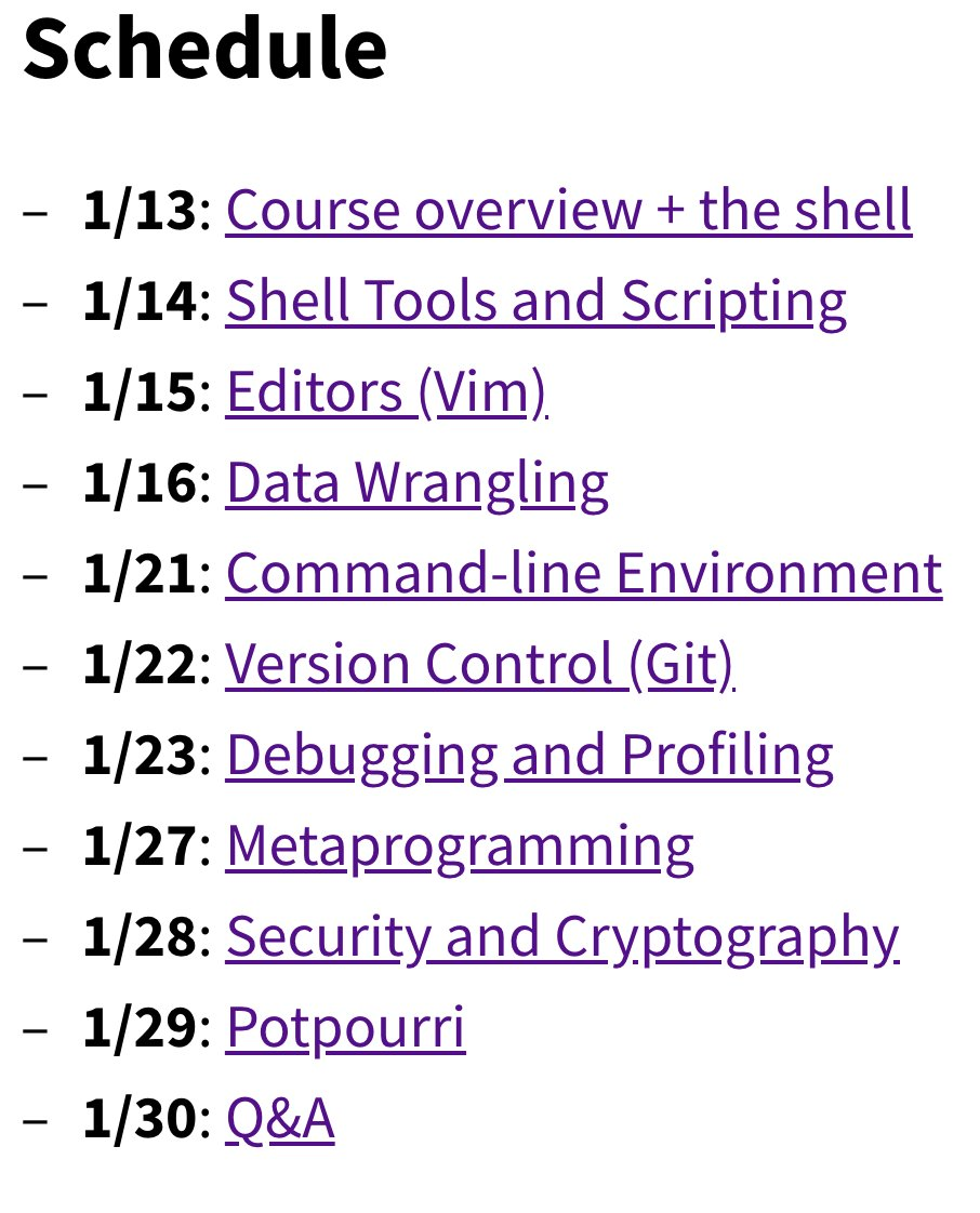 This MIT computer science class teaches you all the things that other classes dont teach you, like... 🖥️ Shell tools and scripting 🖥️ Vim 🖥️ Data wrangling 🖥️ Command-line environment 🖥️ Version control Watch all 11 lectures for free: bit.ly/MissSemester