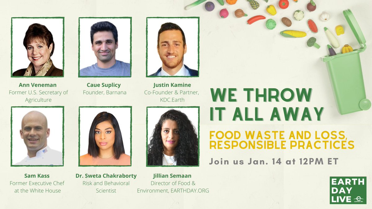 We must think about innovative approaches to address food waste moving forward.  TOMORROW at 12PM ET, tune in to the latest #EarthDayLive virtual event to learn more about this critical issue and sustainable solutions.  RSVP here: