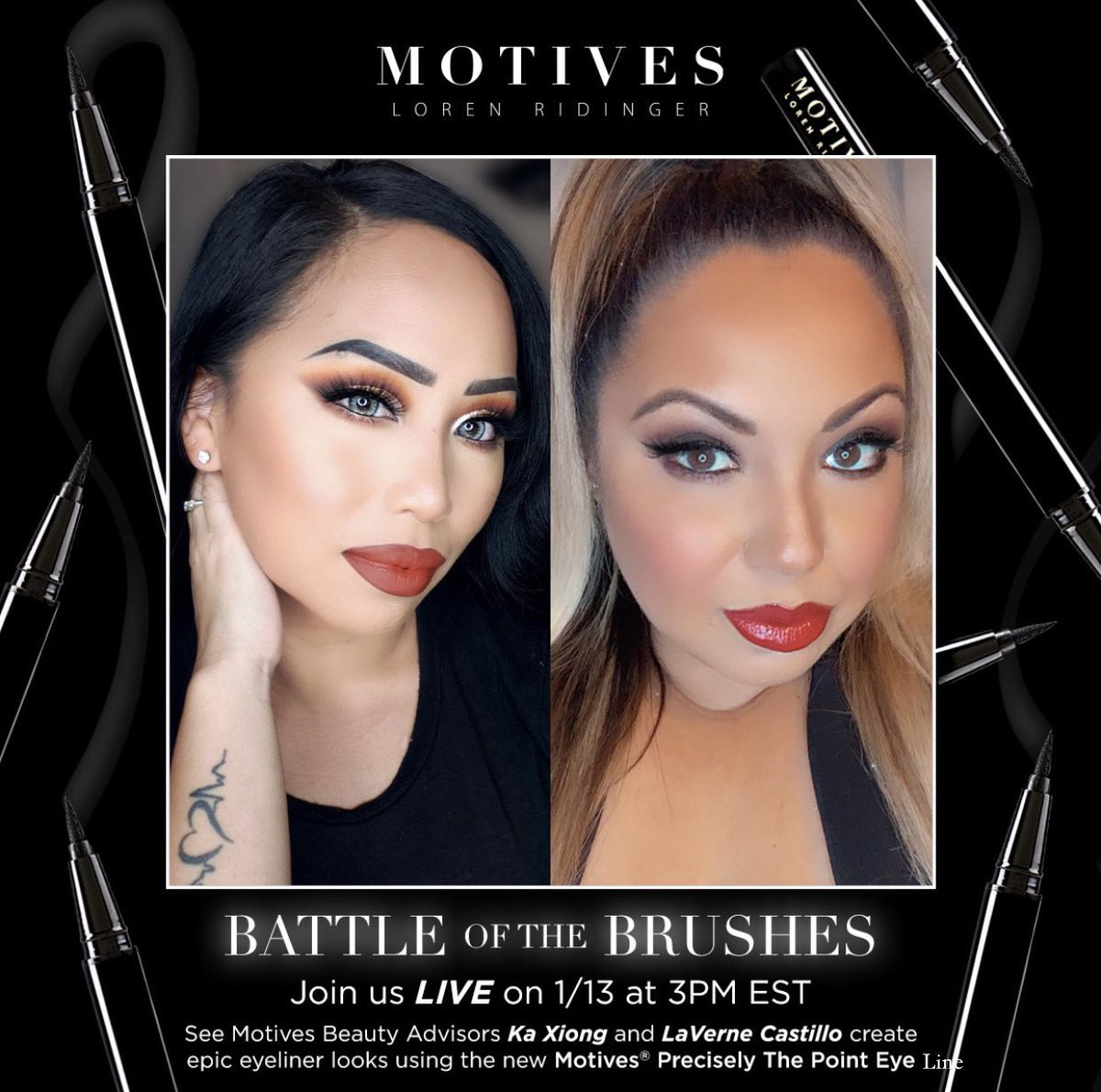 WE'RE LIVE 🖤 Learn to line now via our Battle of The Brushes Instagram live!