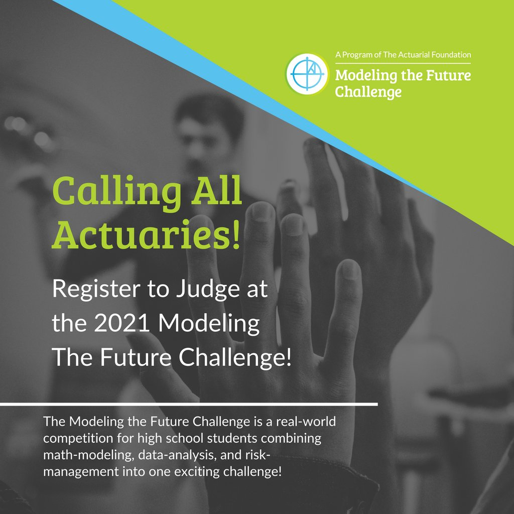 Do you have a passion for math modeling and science competitions? Now is the time to register with the #ModelingTheFutureChallenge to judge at the 2021 virtual competition! Find out more and register to be a judge:  #actuarialscience #highschoolcompetitions