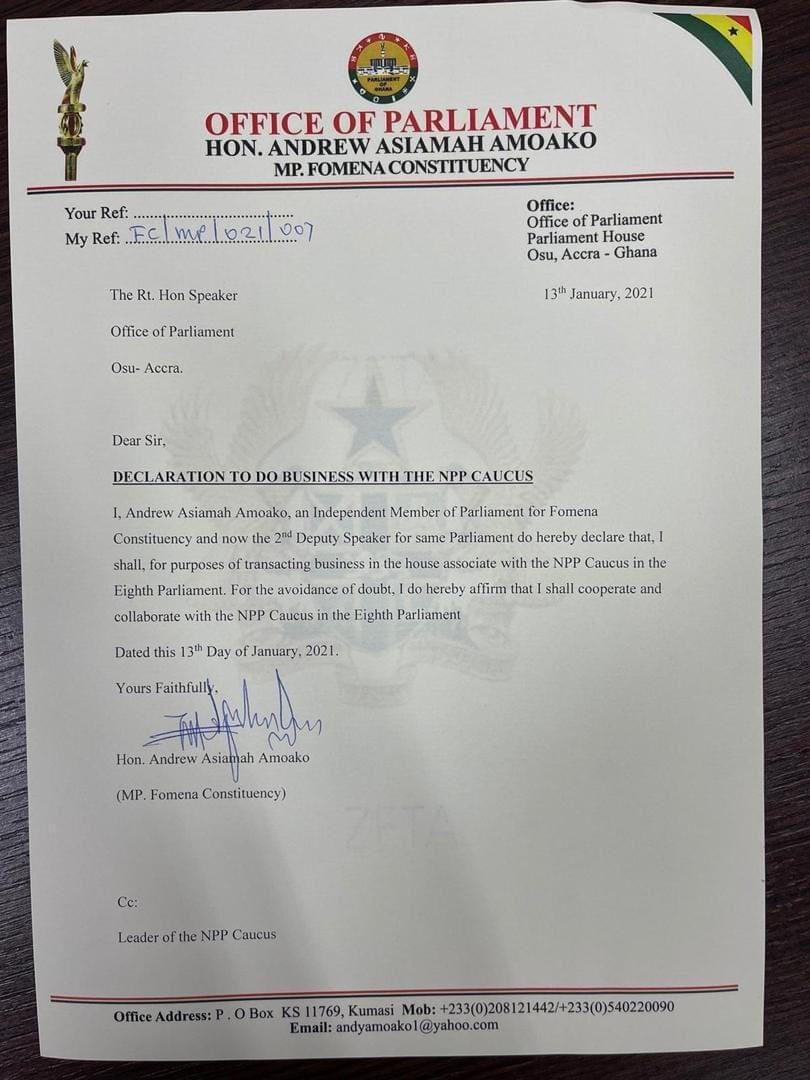 Fomena MP, Andrew Asiamah officially joins NPP caucus in Parliament
