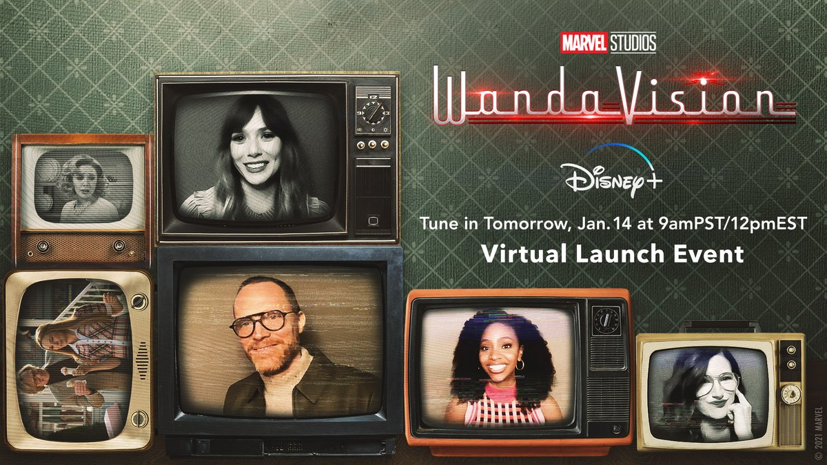 Tune in right here tomorrow at 9AM PST/12PM EST for a Virtual Launch Event featuring the cast of Marvel Studios' #WandaVision.