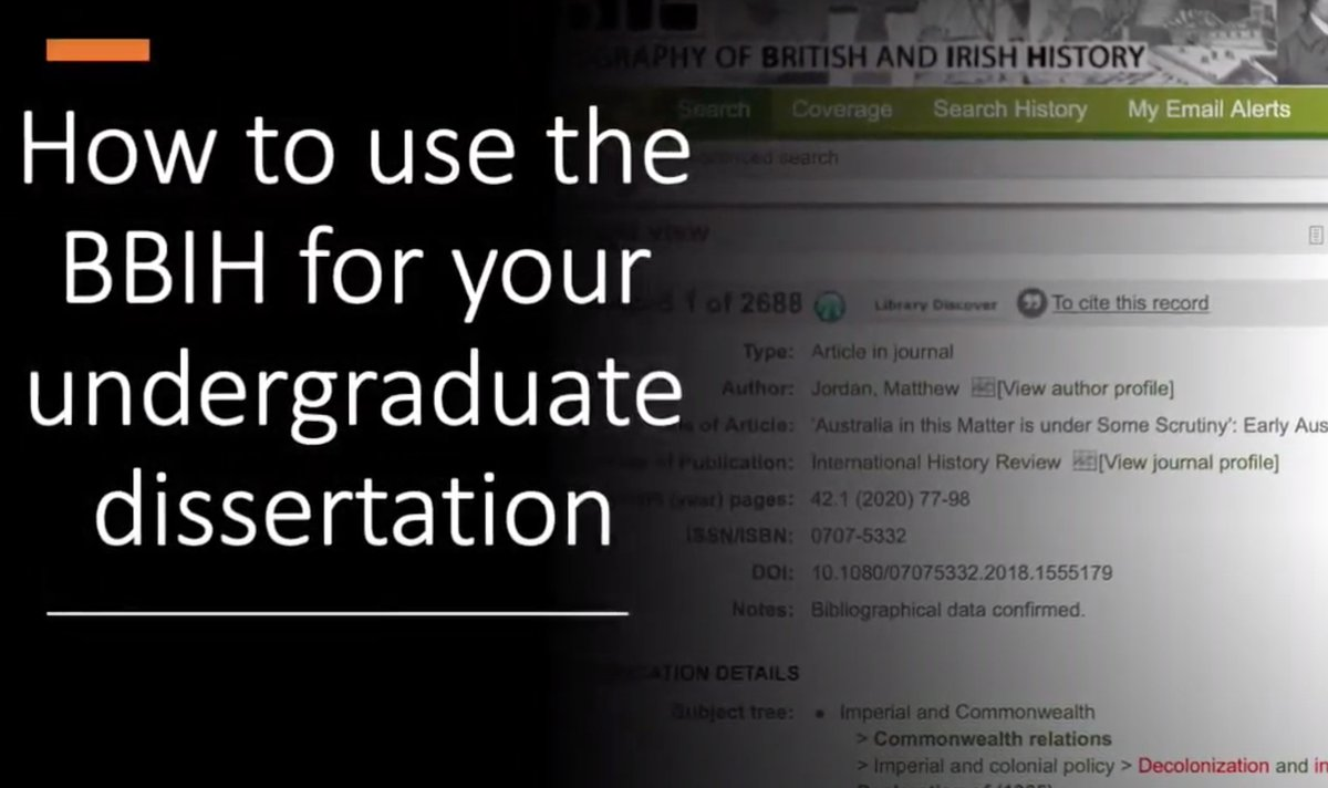 Students! Lecturers! If you seek inspiration for your BA / MA dissertation, use the Bibliography of British & Irish History to see whats been published and discover your subject. Weve a set of how to videos to help with a 2021 thesis history.ac.uk/publications/b… #twitterstorians