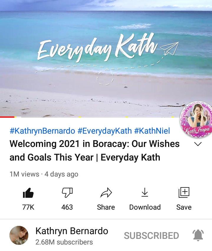 "Happy 1M views, ""Welcoming 2021 in Boracay: Our Wishes and Goals This Year | #EverydayKath""! 🥰🥳  🔗  🔗  🔗  🔗  🔗  @bernardokath @min_bernardo #KathrynBernardo"
