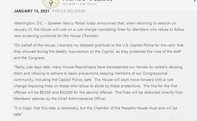 BOOM:   US House Speaker announces Members who bypass the new metal detector near House Chamber will pay $5,000 fine.  ($10,000 for second offense)