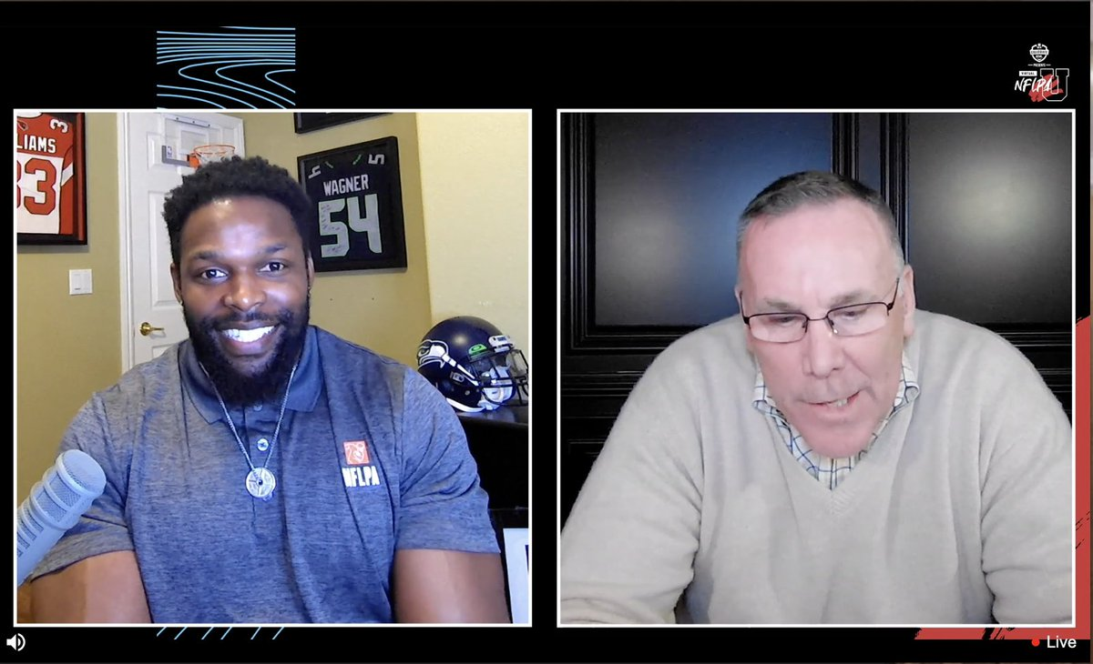 We're LIVE! #NFLPAU players are hearing from @RobertJTurbin & Former GM John Dorsey–finding out exactly what coaches and GMs are looking for when they're drafting players.