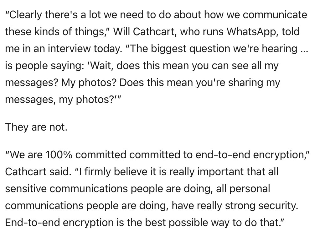 I spoke to WhatsApp chief @wcathcart about this week's big, misguided privacy policy freakout — and how no one is truly immune to the damage a viral rumor can cause https://t.co/OlmeAvYCk9 https://t.co/Sg2JbpVxxI