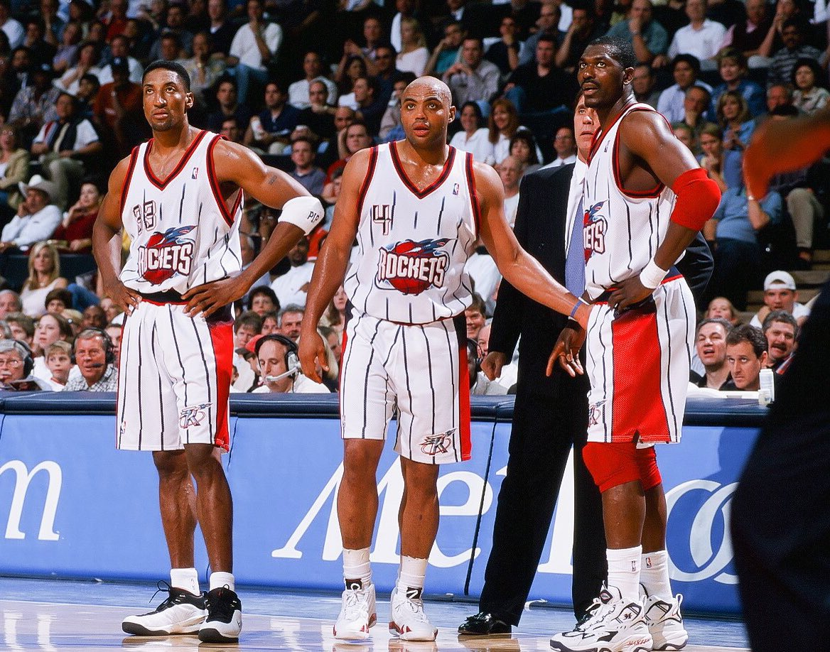 I had to look through all the game shots to be sure, but Chuck's Nike line had ended and he wore AJ XIV, Pippen 2, Tuned Force and the Powermatic that lockout year with Pip on the team.