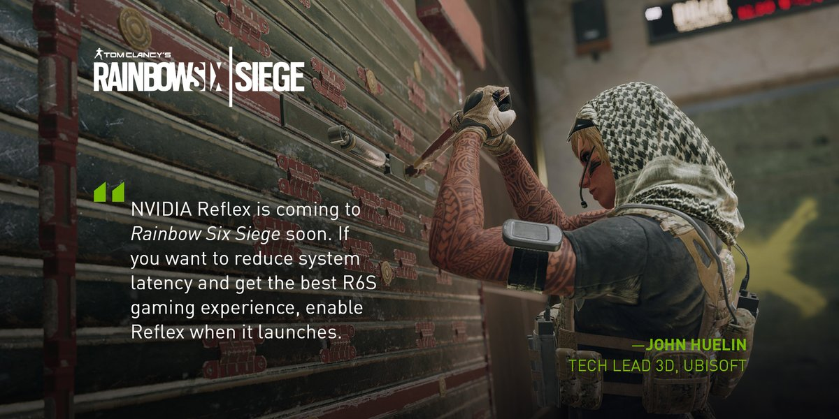 Ubisoft is working on NVIDIA Reflex in Rainbow Six Siege for all GeForce 900 series GPUs and newer.   #FramesWinGames 👉