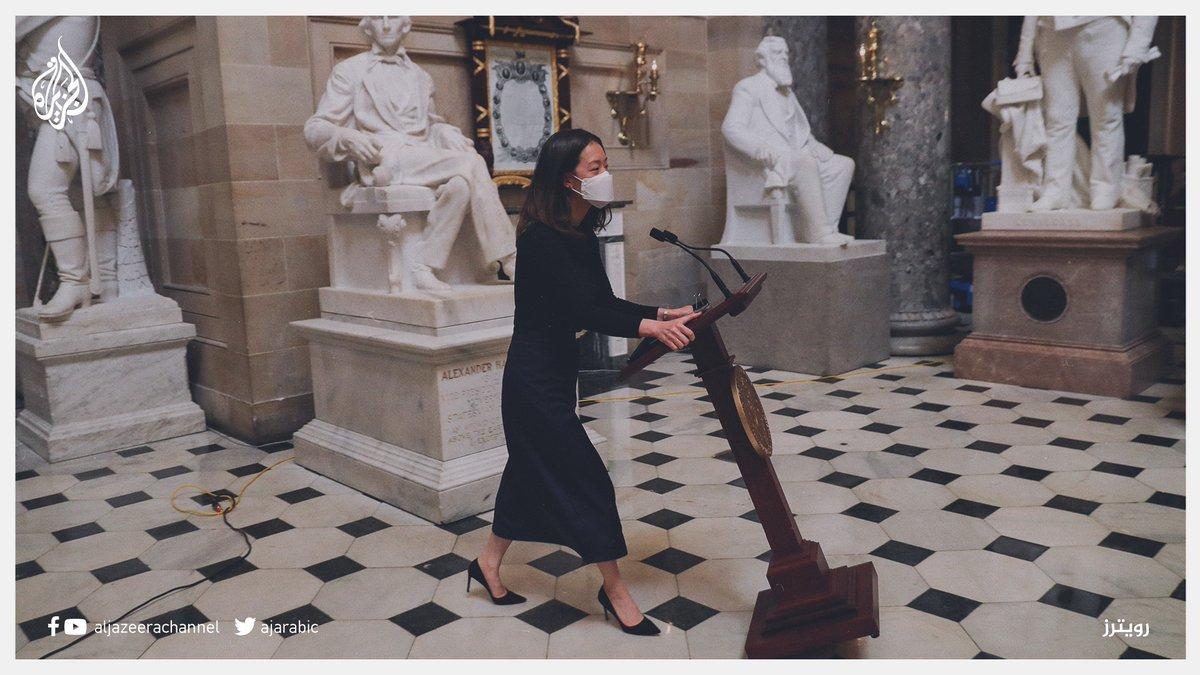 بعد سرقته من قبل أنصار ترمب.. منبر رئيسة مجلس النواب نانسي بيلوسي يعود إلى الكونغرس الجزيرة أمريكا20