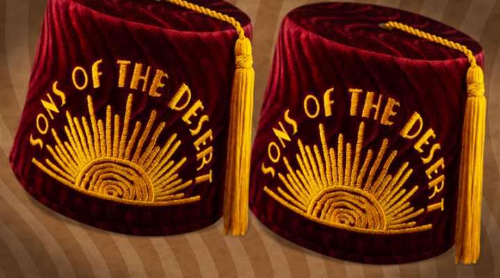 Sons of the Desert returns for ONE WEEK ONLY -  It's time for our Semiannual Fez of the Week release to celebrate Oliver Hardy's birthday on the 18th. Orders close on the 20th.  #OliverHardy #LaurelandHardy #sonsofthedesert #classiccomedy