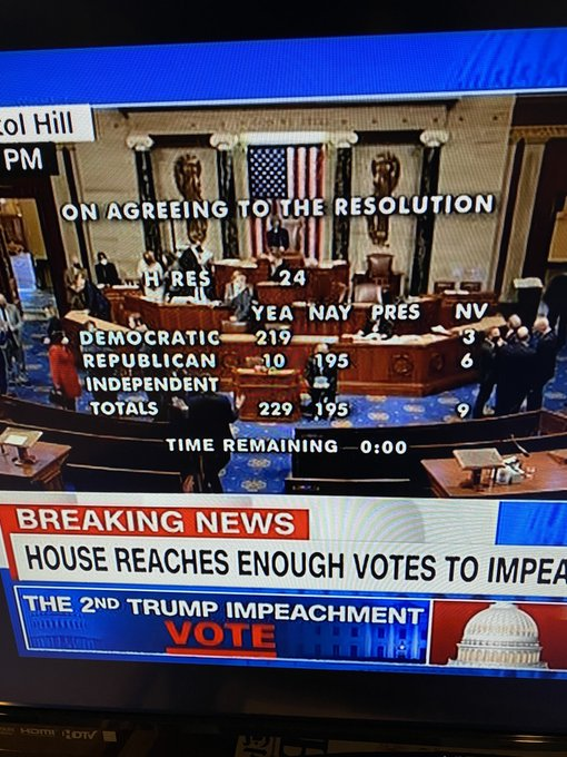Donald Trump is now the only President of the United States to be impeached twice. With 10 Republicans joining in, it is the most bipartisan Presidential impeachment in US history.  Now that's called unity.