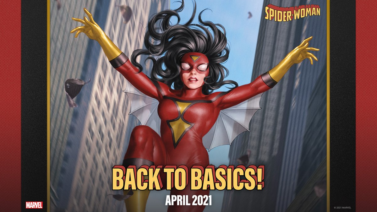 "Spider-Woman goes back to basics this April! 🕸️  Jessica Drew returns to her classic costume in a new arc starting in ""Spider-Woman"" #11:"
