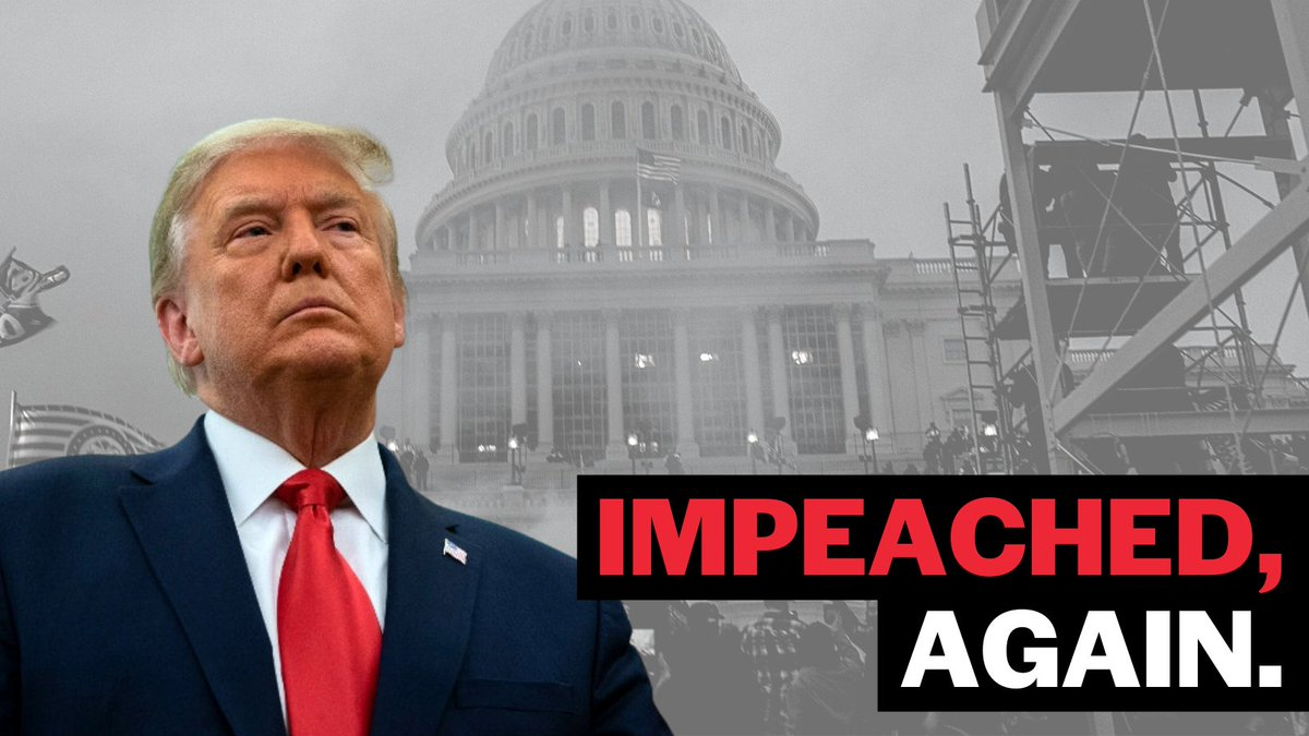 BREAKING NEWS: The House just voted to #impeach President Trump for a SECOND time. Now, he must be removed and disqualified from holding public office again.