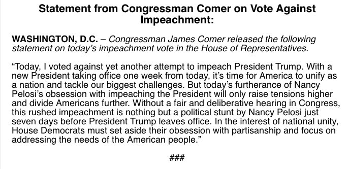 It's time to move beyond political stunts and work to unify America. Statement on my opposition to Nancy Pelosi's latest impeachment: