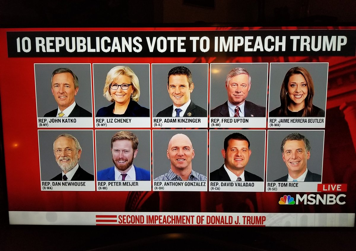 Let's give a hand to 10 Republicans that stood up for the rule of law and the Constitution.  I applaud these ten. 👍 👏👏👏👏👏👏👏👏