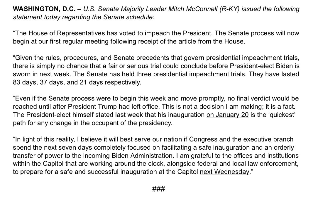My full statement on the next seven days and the Senate schedule: