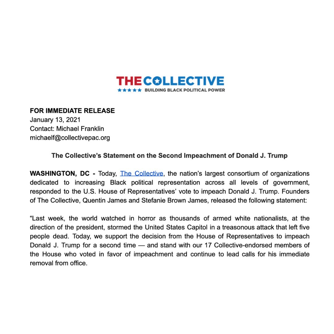 """BREAKING: Statement from @QJames & @StefBrownJames on Donald Trump being Impeached, again.  """"The January 6th coup attempt will forever serve as a reminder of the fragile nature of our democracy and the dark culmination of the disastrous, dangerous, and racist Trump presidency."""" https://t.co/4HA4xWR4vl"""