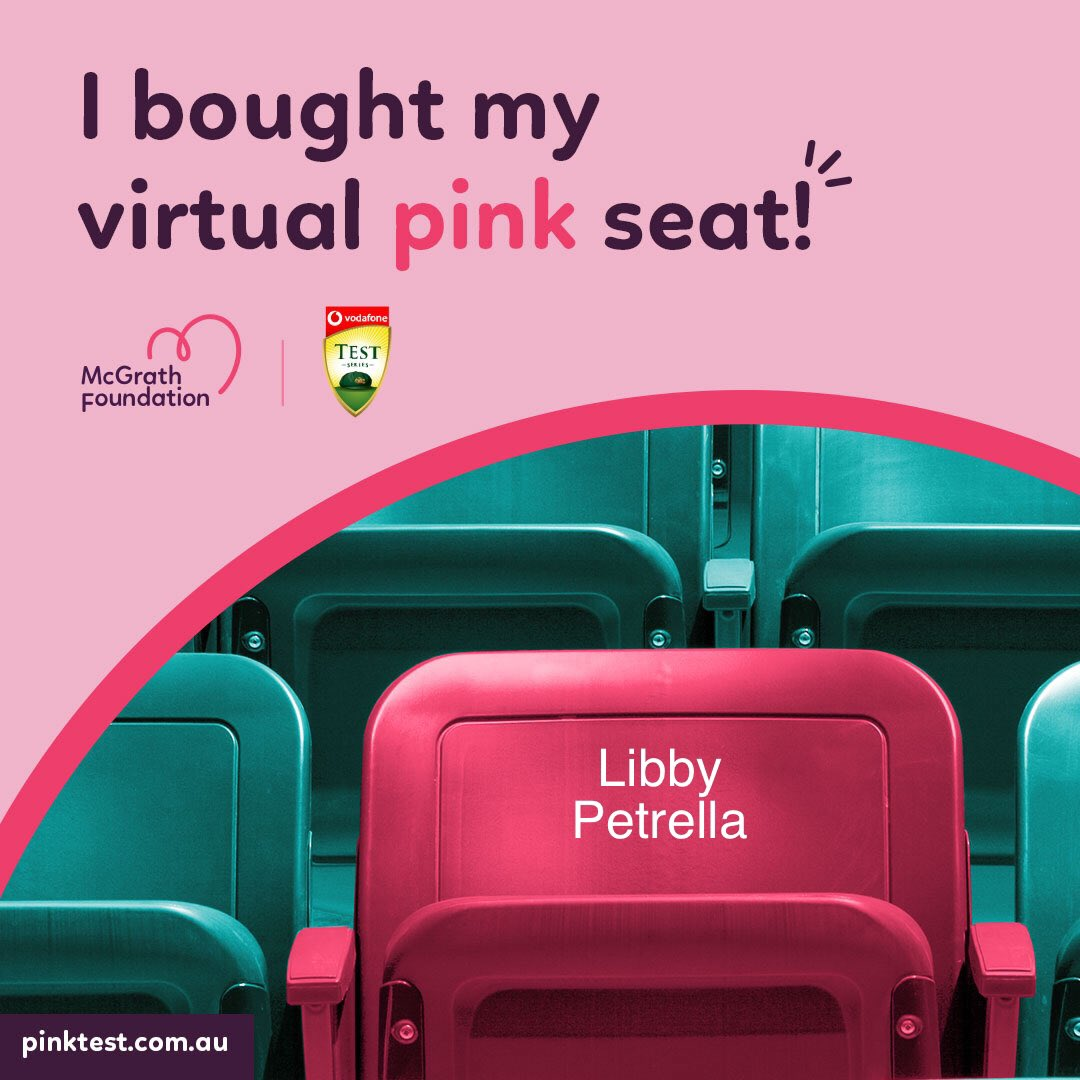 Help raise money to fund McGrath Breast Care Nurses in communities across Australia. The McGrath Foundation have 154 Breast Care Nurses, assisting those experiencing breast cancer by providing physical, psychological and emotional support. 💕 @McGrathFdn #virtualseat #pinktest