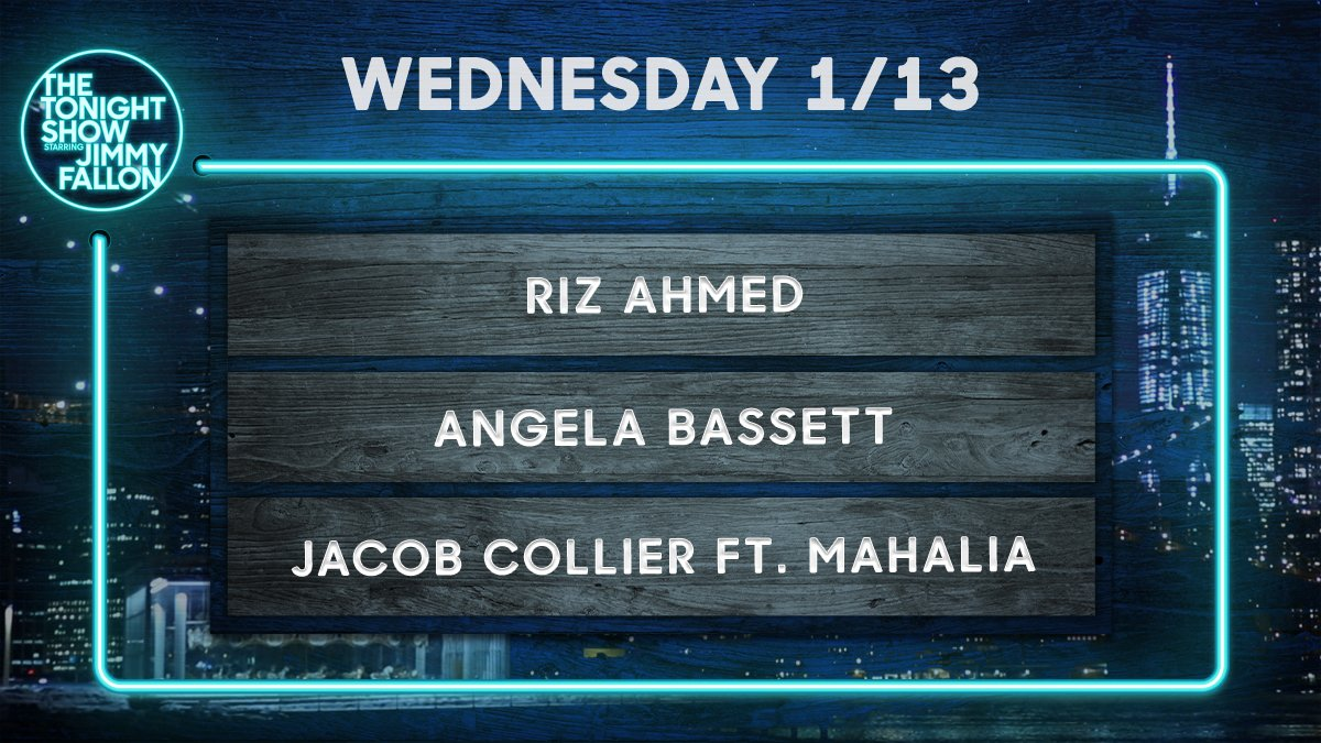 Tonight on the show!  🎤 Freestylin' w/ @TheRoots 🥁 @rizwanahmed 🌟 @ImAngelaBassett 🎵 @jacobcollier ft. @mahalia  #FallonTonight