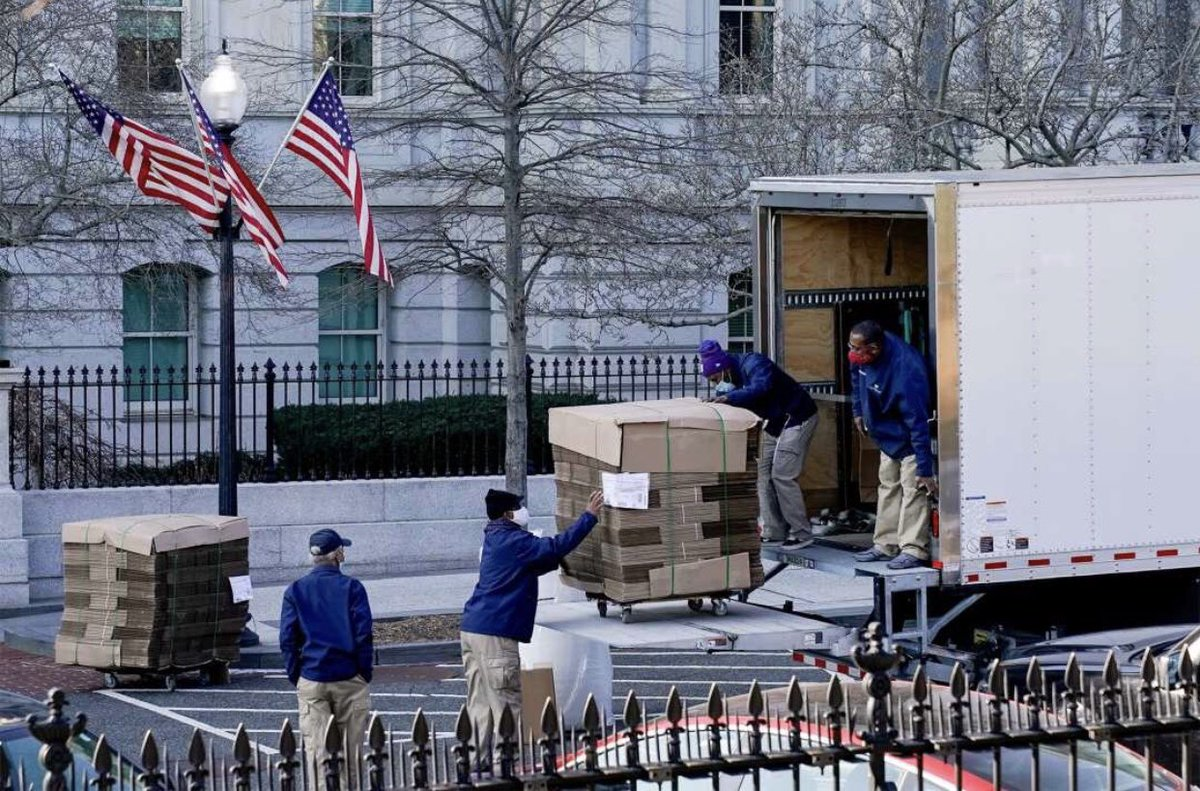 Moving Day at the White House. Movers seen a week before the Bidens move in. #2020IsOverParty