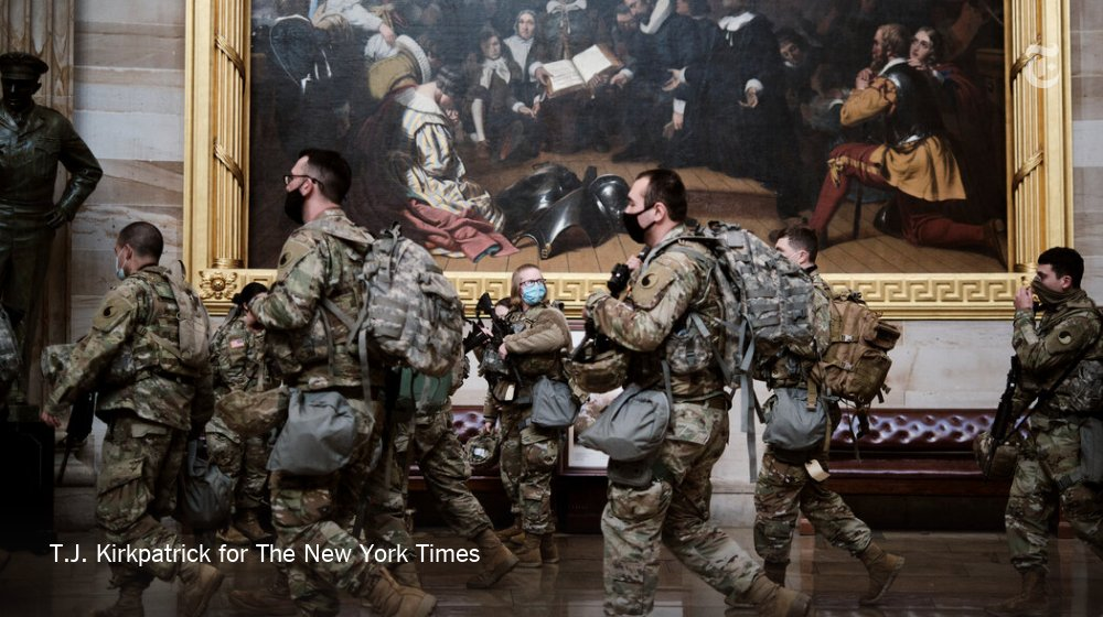 There was a heavily militarized presence in and around the Capitol as the House met to debate impeaching President Trump. There appeared to be troops at every corner, some resting between shifts, others positioned around the complex. https://t.co/W3dt5P8j8U https://t.co/JKNyDGgFxK