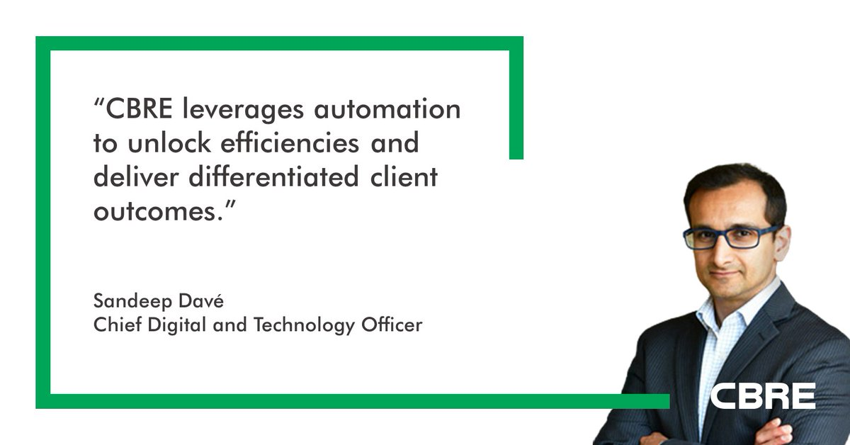 """CBRE Recognized for Real Estate Industry's """"Best Use of Automation"""" by Realcomm: https://t.co/YO8xyhVBuE  @REALCOMMtweet https://t.co/orpTusm2nv"""