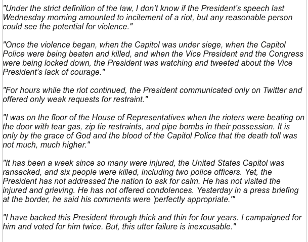 Statement from Rep. Tom Rice (R-SC), the surprise vote for impeachment. I have backed this President through thick and thin for four years. I campaigned for him and voted for him twice. But, this utter failure is inexcusable.