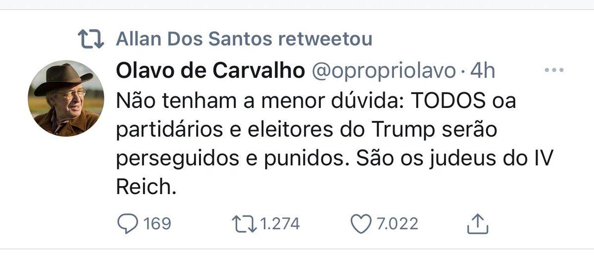 """Olavo de Carvalho literalmente disse que os eleitores do Trump são """"os judeus do IV Reich"""" e serão """"perseguidos"""" e """"punidos"""".  É isso que o Twitter tem q permitir em nome de uma suposta """"liberdade de expressão""""?  Converse com um judeu sobre isso."""
