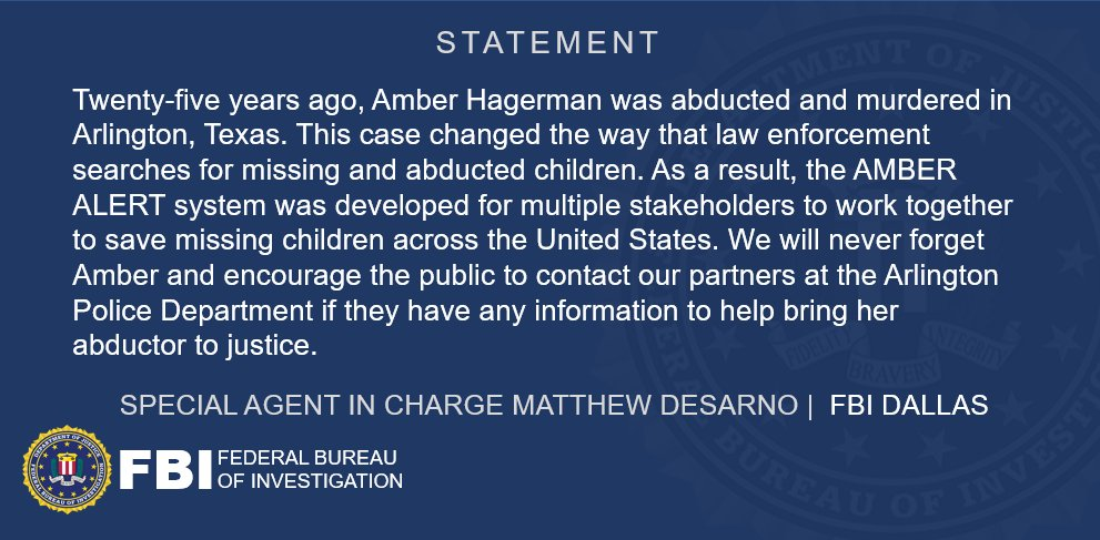 SAC DeSarnos statement on the 25th anniversary of Amber Hagermans abduction. Go to @MissingKids to learn more about the ongoing search for Ambers killer. missingkids.org/blog/2021/stil…