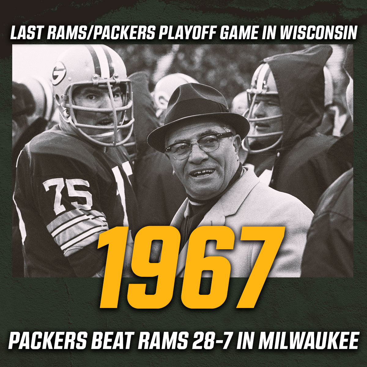 """It's been a long time since the @Packers hosted the Rams in a playoff game, and it wasn't at Lambeau Field.  The Packers beat the Rams 28-7 at Milwaukee County Stadium, then went on to win the """"Ice Bowl"""" in 1967. #DivisionalRound"""