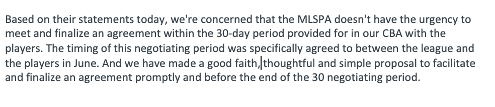 MLS president and deputy commissioner Mark Abbott with a quick response to the #MLSPA conference call about the #MLSCBA. He's doubling down on assertion of a hard deadline at the end of the 30-day negotiating window.