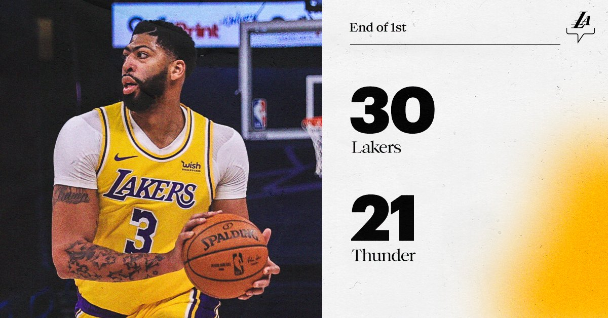 A point a minute for the big man—12 pts, 4 reb after one.