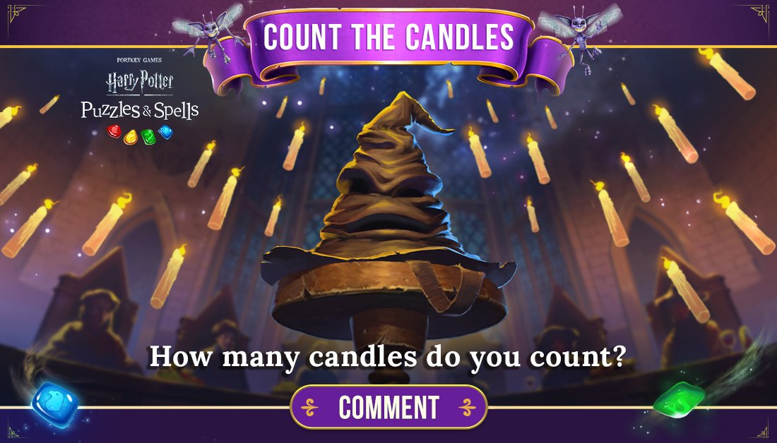 Candles light the Great Hall at Hogwarts, but they also pave the way to a victory in-game. Comment below with how many you can count!  Light candles to solve puzzles NOW ➡️   #HarryPotter #PuzzlesAndSpells #Match3 #GreatHall