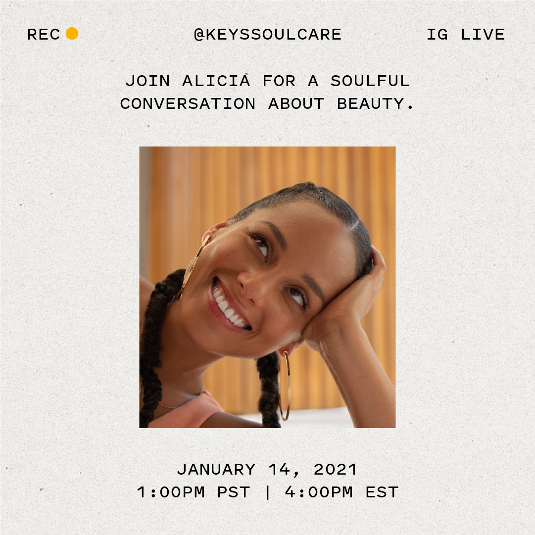 Mantras and affirmations are a major part of our Keys Soulcare community. There's power in sharing our biggest dreams and hopes with each other. Tmrw you'll be able to share your favorite mantras with @AliciaKeys on IG Live at @KeysSoulcare  🧡 Thurs, Jan 14th 🧡 4PM EST/1PM PST