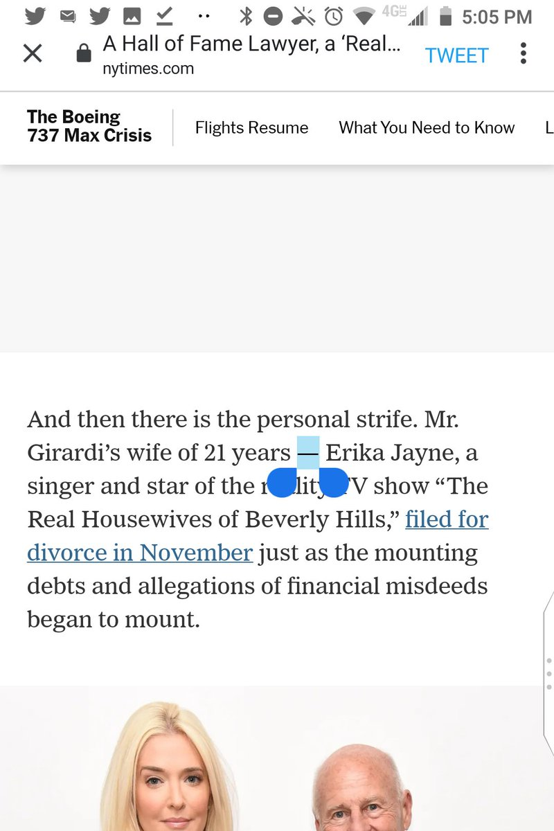 "@nytimes This em dash is an error for a comma, unless you add one after ""Hills"":  Mr. Girardi's wife of 21 years — Erika Jayne, a singer and star of the reality TV show ""The Real Housewives of Beverly Hills,"" filed for divorce in November just as the mounting debts ... began to mount. https://t.co/KUXQKvsEIY"