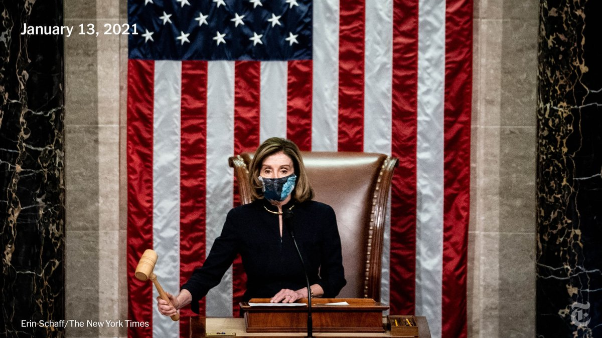 Speaker Nancy Pelosi oversaw the House vote to impeach President Trump for the second time, the first president in American history to be impeached twice. Ten Republicans joined the Democrats to vote for impeachment.  Read the latest. https://t.co/e78p4q5tTV https://t.co/drdrEbHVaf